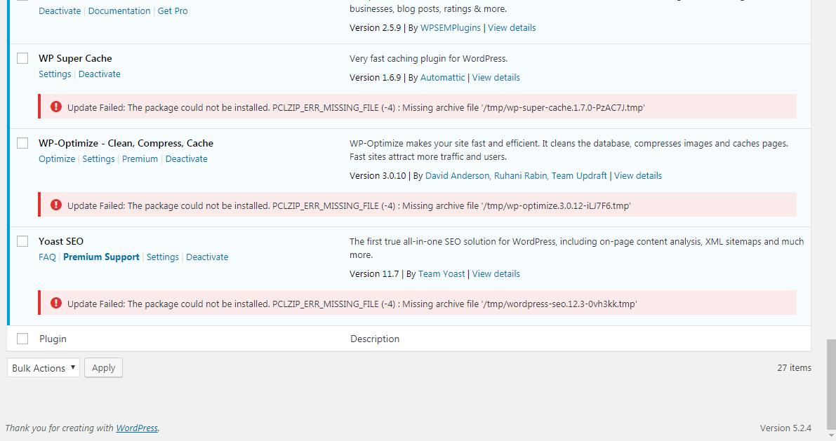 The package could not be installed. PCLZIP_ERR_MISSING_FILE (-4)